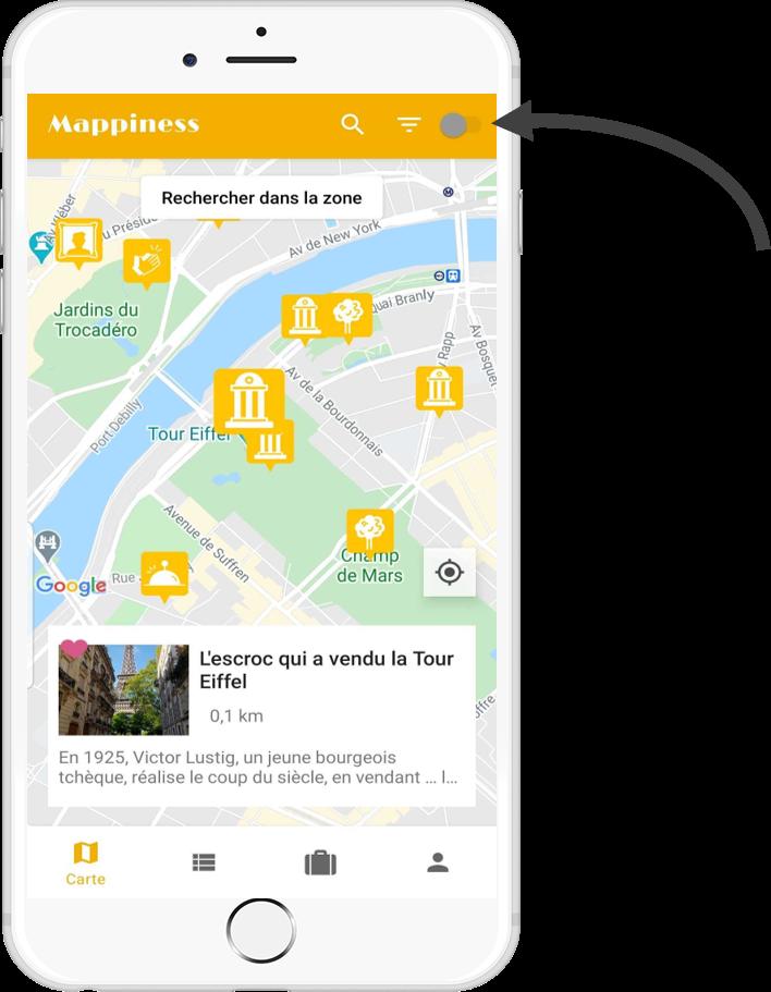 Application Mappiness indication notifications de proximité