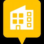 Icône édifice placée sur la carte de l'application Mappiness