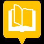 Icône librairie, bibliothèque placée sur la carte de l'application Mappiness