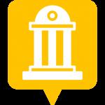 icône monument placée sur la carte de l'application Mappiness