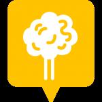 Icône jardin et coin de verdure placée sur la carte de l'application Mappiness