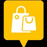 Icône shopping placée sur la carte de l'application Mappiness