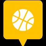 Icône loisirs, sports, activités placée sur la carte de l'application Mappiness