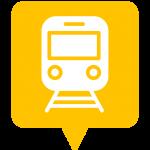 Icône transport placée sur la carte de l'application Mappiness