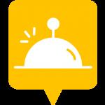Icône restaurant placée sur la carte de l'application Mappiness